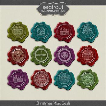 Christmas Wax Seals Digital Art - Digital Scrapbooking Kits