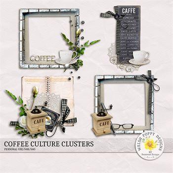 Coffee Culture Clusters Digital Art - Digital Scrapbooking Kits