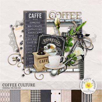 Coffee Culture Mini Kit Digital Art - Digital Scrapbooking Kits