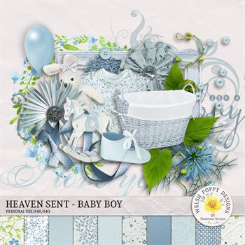Heaven Sent - Baby Boy Mini Kit Digital Art - Digital Scrapbooking Kits