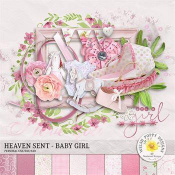 Heaven Sent - Baby Girl Mini Kit Digital Art - Digital Scrapbooking Kits
