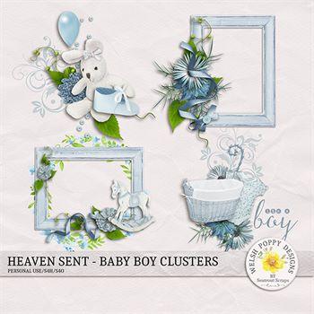 Heaven Sent Baby Boy Clusters Digital Art - Digital Scrapbooking Kits