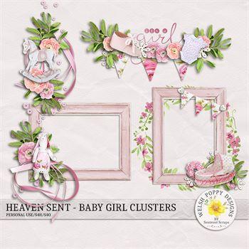 Heaven Sent Baby Girl Clusters Digital Art - Digital Scrapbooking Kits