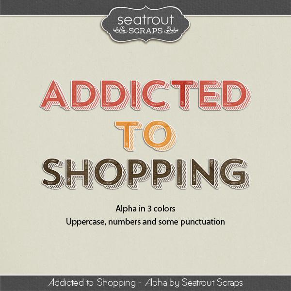 Shopping Addiction Alphas Digital Art - Digital Scrapbooking Kits