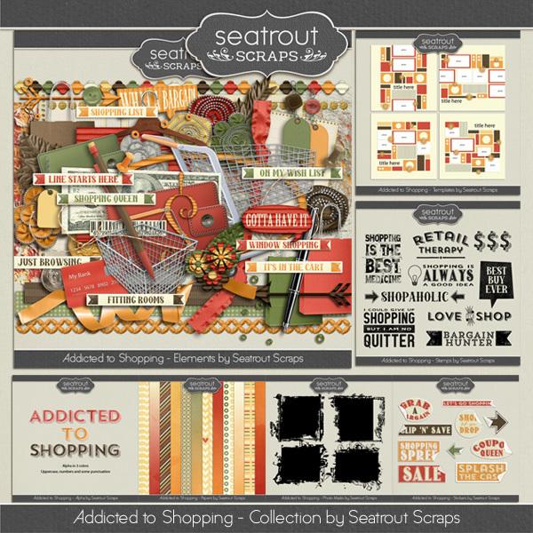 Shopping Addiction Bundle Digital Art - Digital Scrapbooking Kits