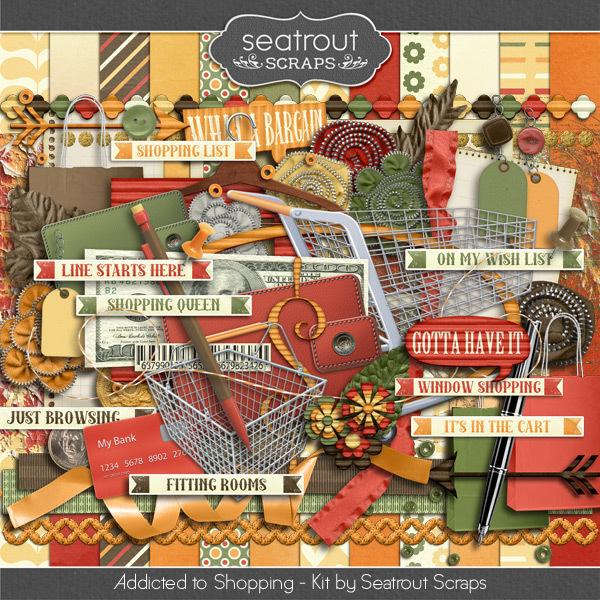 Shopping Addiction Kit Digital Art - Digital Scrapbooking Kits