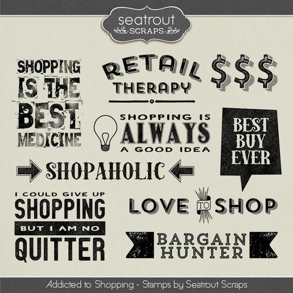 Shopping Addiction Stamps Digital Art - Digital Scrapbooking Kits