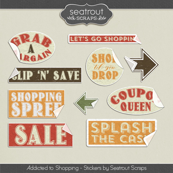 Shopping Addiction Stickers Digital Art - Digital Scrapbooking Kits