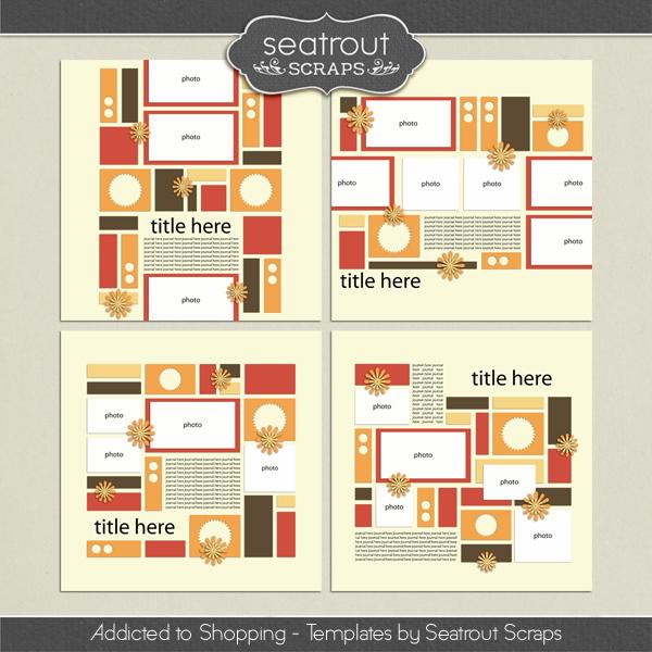 Shopping Addiction Templates Digital Art - Digital Scrapbooking Kits