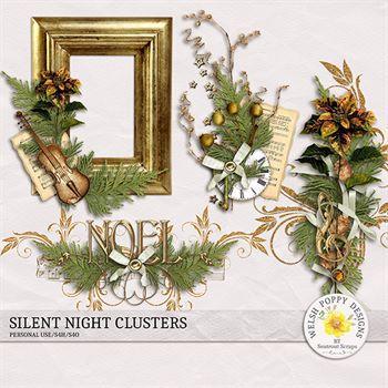 Silent Night Clusters Digital Art - Digital Scrapbooking Kits