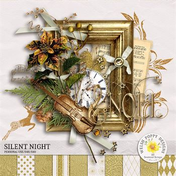 Silent Night Mini Kit Digital Art - Digital Scrapbooking Kits