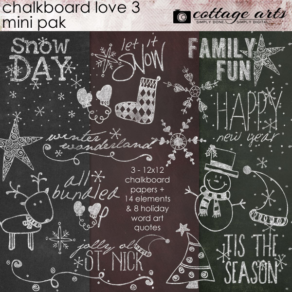 Chalkboard Christmas Mini Pak Digital Art - Digital Scrapbooking Kits