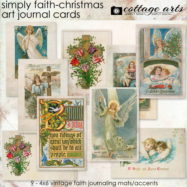 Simply Faith - Christmas Art Journal Cards Digital Art - Digital Scrapbooking Kits
