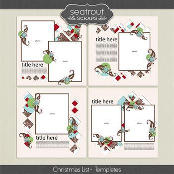 Christmas List - Templates Digital Art - Digital Scrapbooking Kits