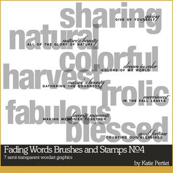 Fading Words Brushes And Stamps No. 04 Digital Art - Digital Scrapbooking Kits