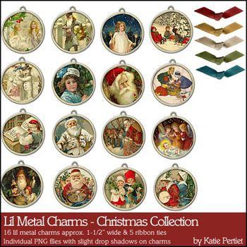 Lil Metal Charms Christmas Collection Digital Art - Digital Scrapbooking Kits