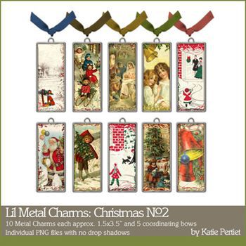 Lil Metal Charms Christmas Collection No. 02 Digital Art - Digital Scrapbooking Kits