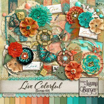 Live Colorful Scrap Kit Digital Art - Digital Scrapbooking Kits