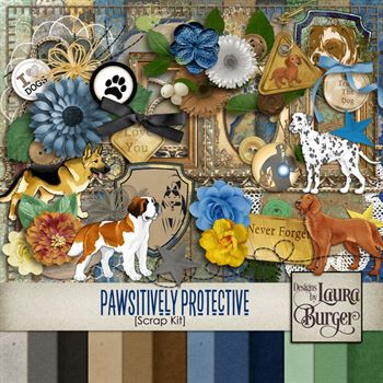 Pawsitively Protective Scrap Kit Digital Art - Digital Scrapbooking Kits