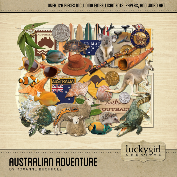 Australian Adventure Digital Art - Digital Scrapbooking Kits