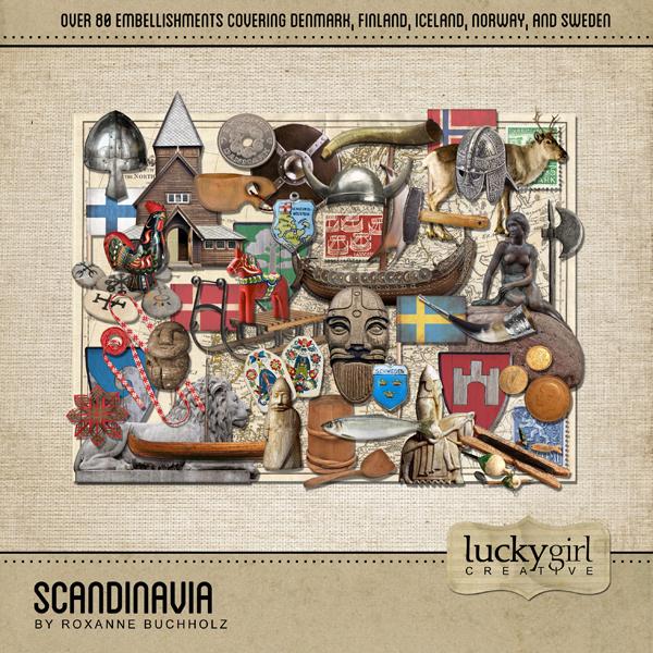 Scandinavia Digital Art - Digital Scrapbooking Kits