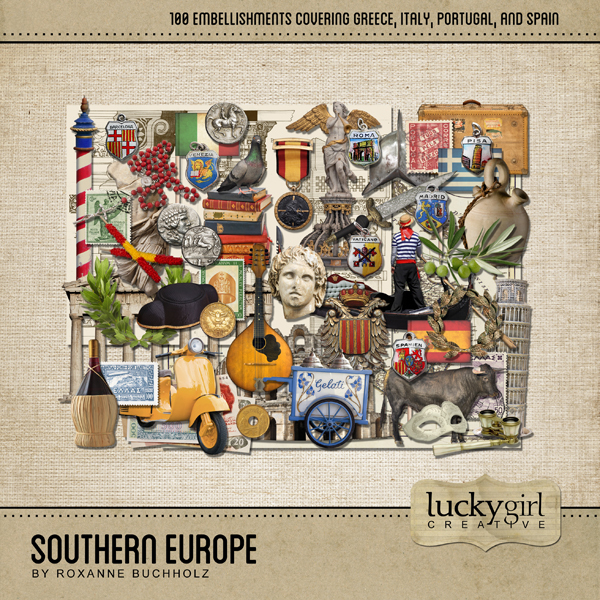 Southern Europe Digital Art - Digital Scrapbooking Kits