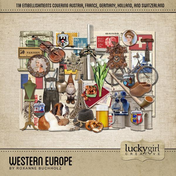 Western Europe Digital Art - Digital Scrapbooking Kits