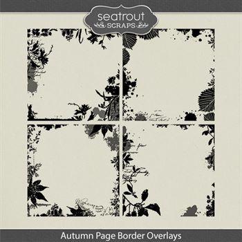 Autumn Page Border Overlays Digital Art - Digital Scrapbooking Kits
