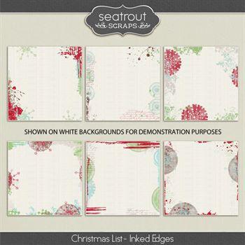 Christmas List - Inked Edges Digital Art - Digital Scrapbooking Kits