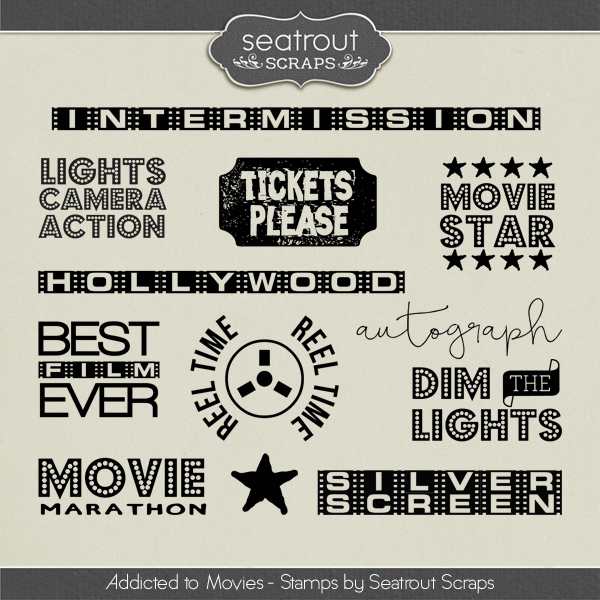 Movie Addiction - Stamps Digital Art - Digital Scrapbooking Kits