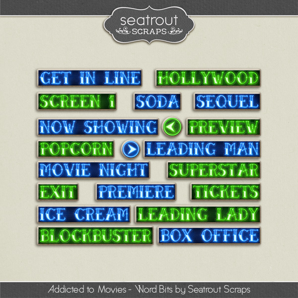 Movie Addiction - Word Art Digital Art - Digital Scrapbooking Kits