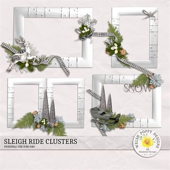 Sleigh Ride Clusters Digital Art - Digital Scrapbooking Kits