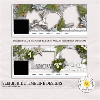 Sleigh Ride Pre-made Facebook Timelines Digital Art - Digital Scrapbooking Kits
