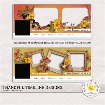 Thankful Pre-made Facebook Timelines Digital Art - Digital Scrapbooking Kits