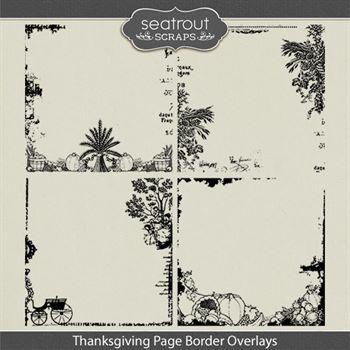Thanksgiving Page Border Overlays Digital Art - Digital Scrapbooking Kits