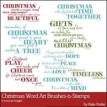 Christmas Word Art Brushes And Stamps Digital Art - Digital Scrapbooking Kits