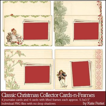 Classic Christmas Collector Cards And Frames Digital Art - Digital Scrapbooking Kits