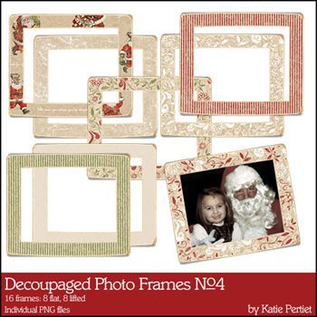 Decoupaged Photo Frames No. 04 Curled And Flat Digital Art - Digital Scrapbooking Kits