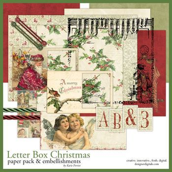 Letter Box Christmas Kit Digital Art - Digital Scrapbooking Kits