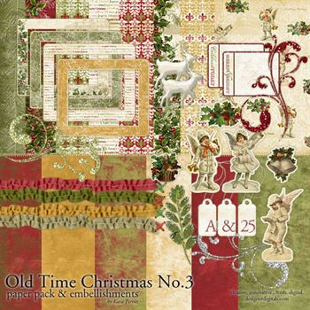 Old Time Christmas No. 03 Kit Digital Art - Digital Scrapbooking Kits