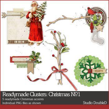 Readymade Clusters Christmas No. 01 Digital Art - Digital Scrapbooking Kits