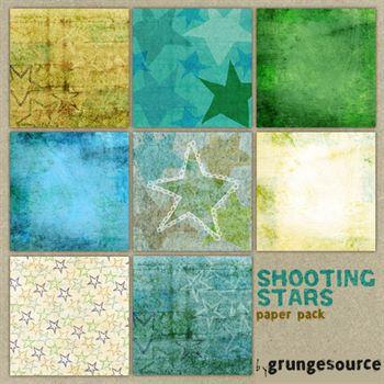Shooting Stars Paper Pack Digital Art - Digital Scrapbooking Kits