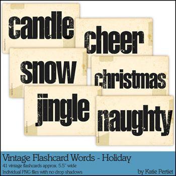 Vintage Flashcard Words Holiday Megapak Digital Art - Digital Scrapbooking Kits