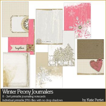 Winter Peony Journalers Digital Art - Digital Scrapbooking Kits