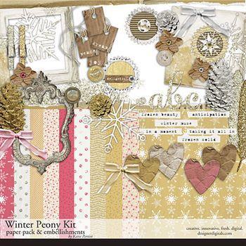 Winter Peony Kit Digital Art - Digital Scrapbooking Kits