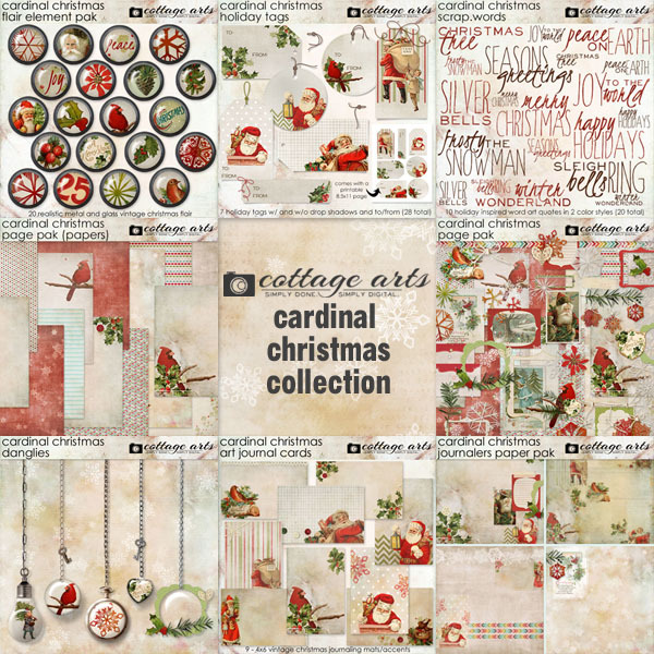 Cardinal Christmas Collection Digital Art - Digital Scrapbooking Kits