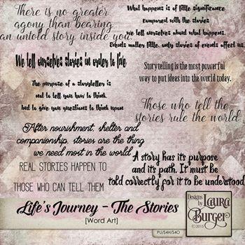 Lifes Journey- The Stories Word Art Digital Art - Digital Scrapbooking Kits