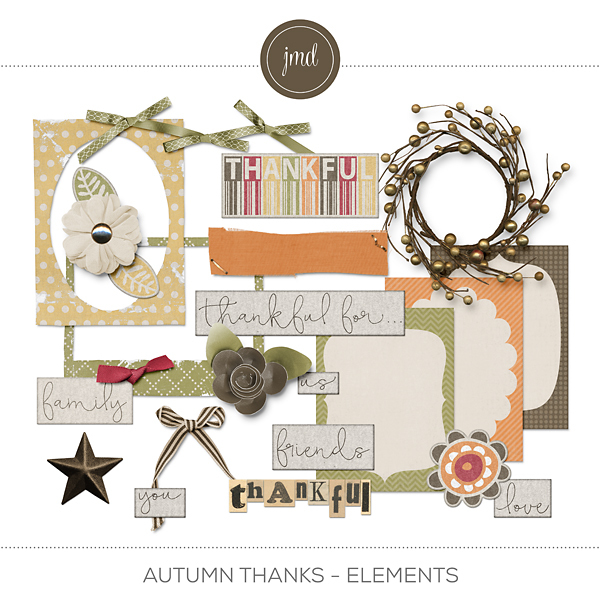 Autumn Thanks Elements Digital Art - Digital Scrapbooking Kits