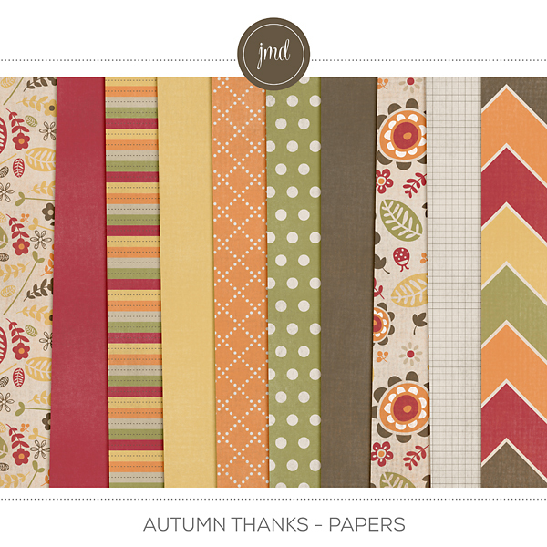 Autumn Thanks Papers Digital Art - Digital Scrapbooking Kits