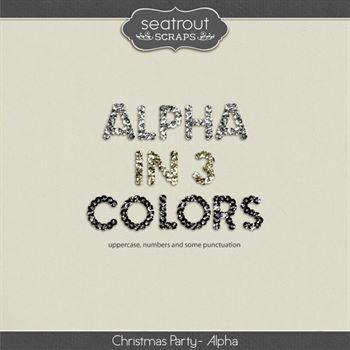 Christmas Party Alphas Digital Art - Digital Scrapbooking Kits